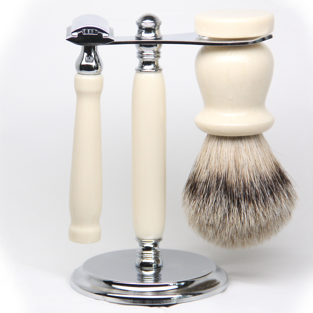 Imitation Ivory Silver Tip Set Exclusive Shave Sets