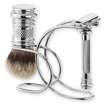 4302 Mercur Chrome 3pc Barber Pole Shave Set 3881001