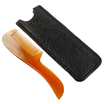 Genuine Ox Horn Pocket Comb with Carrying Case