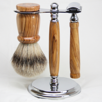 Exclusive Olive Wood 3 Piece Shave Set